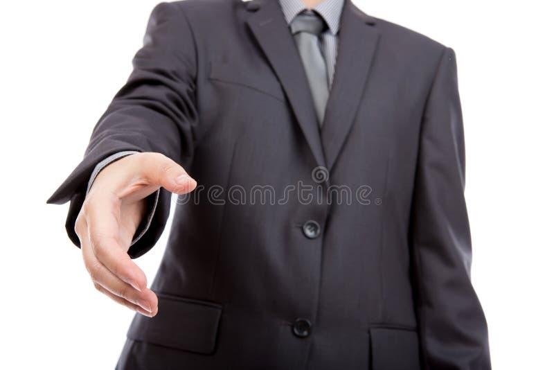 Geschäftsmann betriebsbereit, ein Abkommen einzustellen. lizenzfreies stockbild