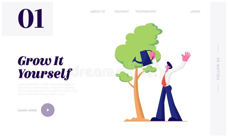 Geschäftsmann-Bewässerungsbäume im Garten mit Wasserkanister Lebenszyklus, Zeit-Linie und Wachstums-Metapher, Gartenarbeithobby,  lizenzfreie abbildung