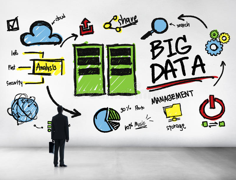 Geschäftsmann Big Data Management, das oben Konzept schaut stockbilder