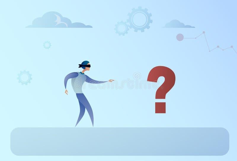 Geschäftsmann-blindes Gehen, zum von Mark Crisis Risk Concept zu fragen vektor abbildung