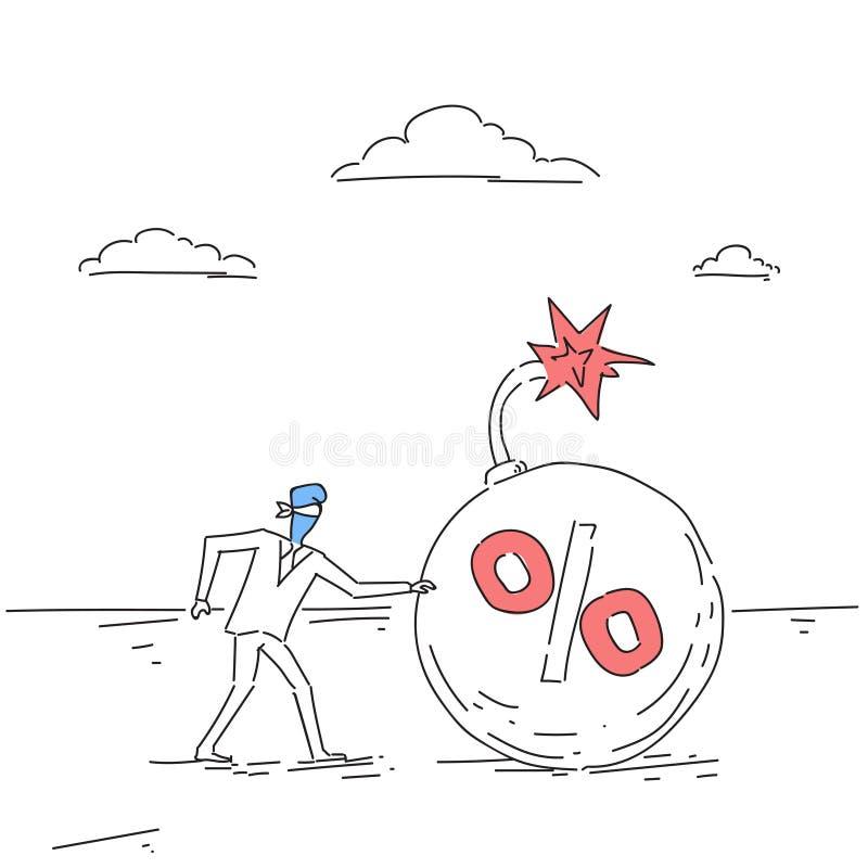 Geschäftsmann-blindes Kommen zum Prozent-Bomben-Kredit-Fremdfinanzierungsmittel-Krisen-Risiko-Konzept-Gekritzel vektor abbildung