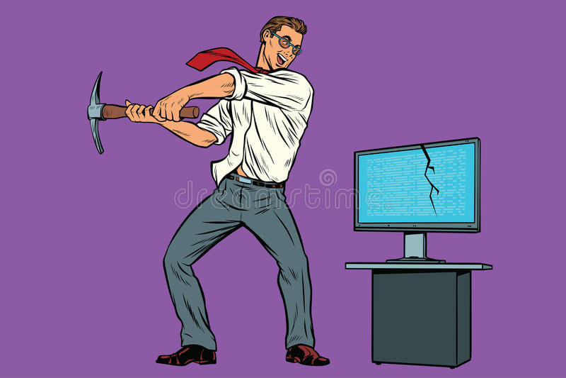 Geschäftsmann bricht den Computer, Entcodervirus ransomware stock abbildung