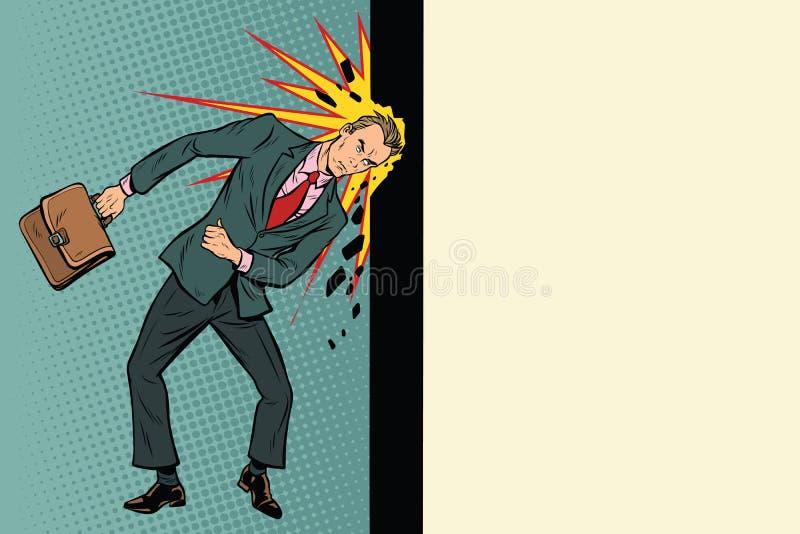 Geschäftsmann bricht die Wand mit seinem Kopf lizenzfreie abbildung