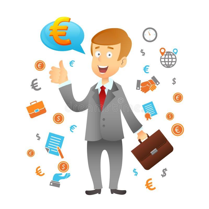 Geschäftsmann And Business Icons vektor abbildung