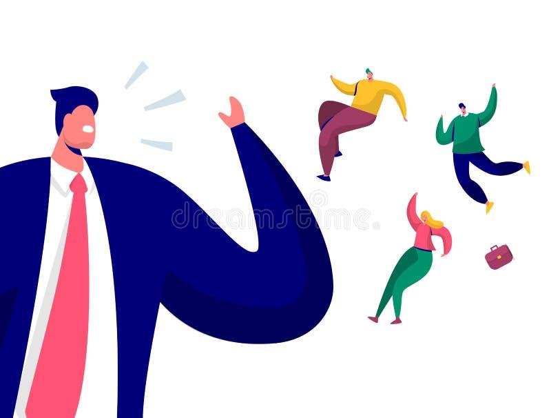 Geschäftsmann Call Team Run Away From Office Ende des Tageswochenenden-Konzeptes Chef mit Personal zu besetzen Character Scream A stock abbildung