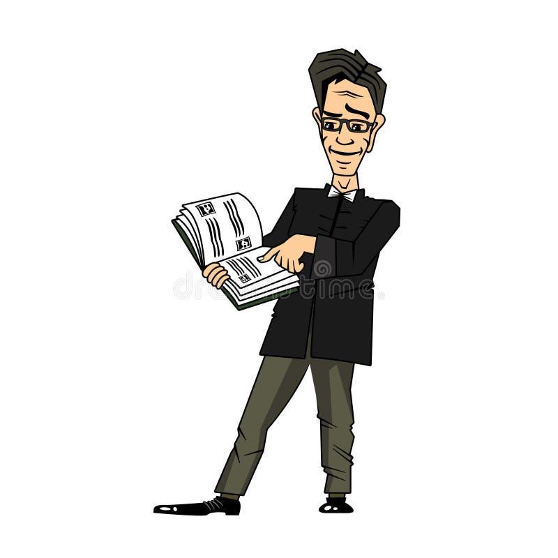 Geschäftsmann Cartoon Character, das ein Buch, lokalisiert auf einem weißen Hintergrund liest stockbilder