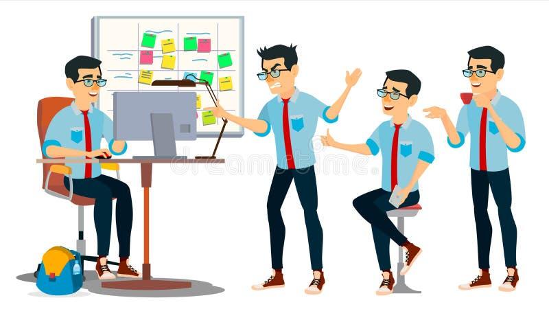 Geschäftsmann-Charakter-Vektor Arbeitsasiat, Mann Team Room asiatisch Umwelt-Prozess beginnen herein oben Büro stock abbildung