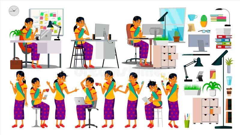 Geschäftsmann-Charakter-Vektor Arbeitshindus eingestellt Büro, kreatives Studio bärtig Gruppe symbolische Leute software lizenzfreie abbildung