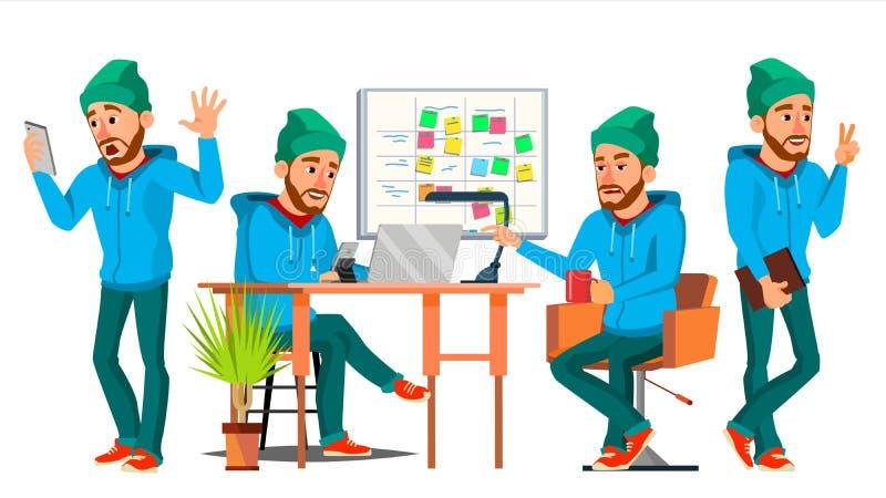 Geschäftsmann-Charakter-Vektor Arbeitsjunge, Mann Umwelt-Prozess beginnen herein oben Büro, Studio Männlicher Entwickler stock abbildung