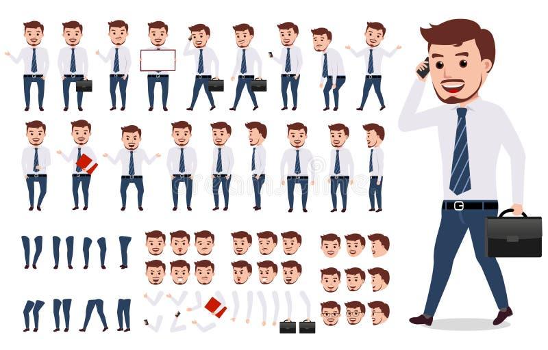 Geschäftsmann-Charakterschaffungssatz Männliches Vektorcharaktergehen lizenzfreie abbildung