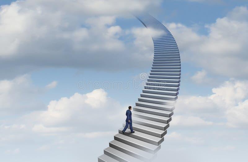 Geschäftsmann Climbing eine Karriere-Leiter lizenzfreie abbildung