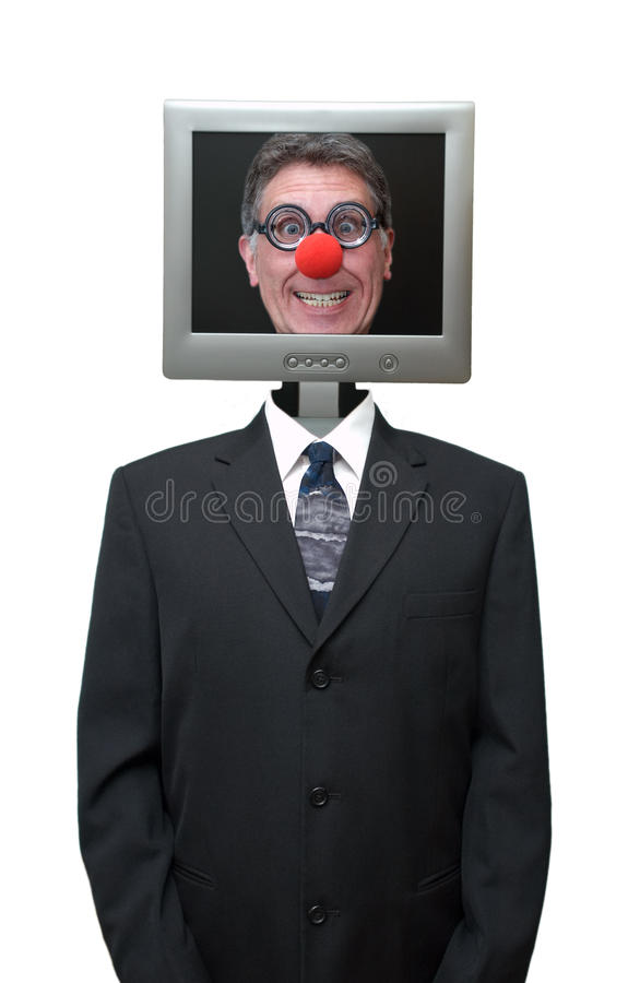 Geschäftsmann-Computer-Clown getrennt lizenzfreies stockfoto