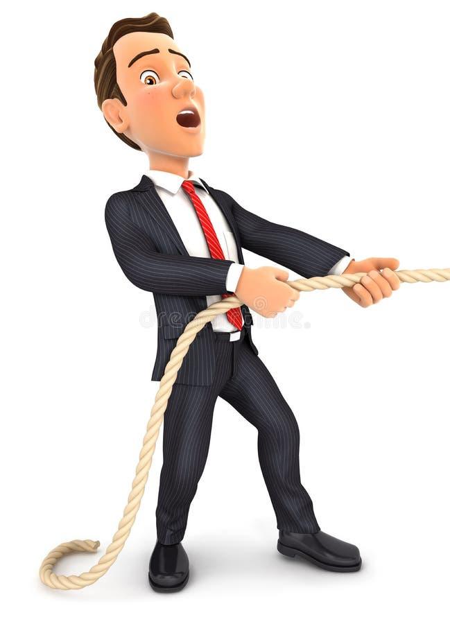 Geschäftsmann 3d, der auf das Seil zieht lizenzfreie abbildung