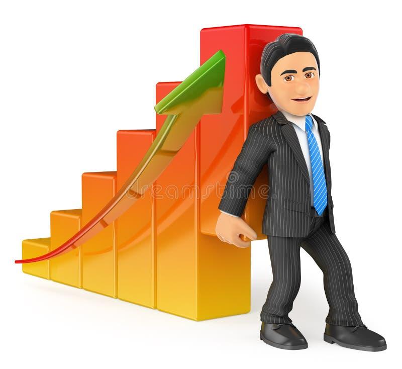 Geschäftsmann 3D, der herauf das Wirtschaftsbalkendiagramm anhebt vektor abbildung