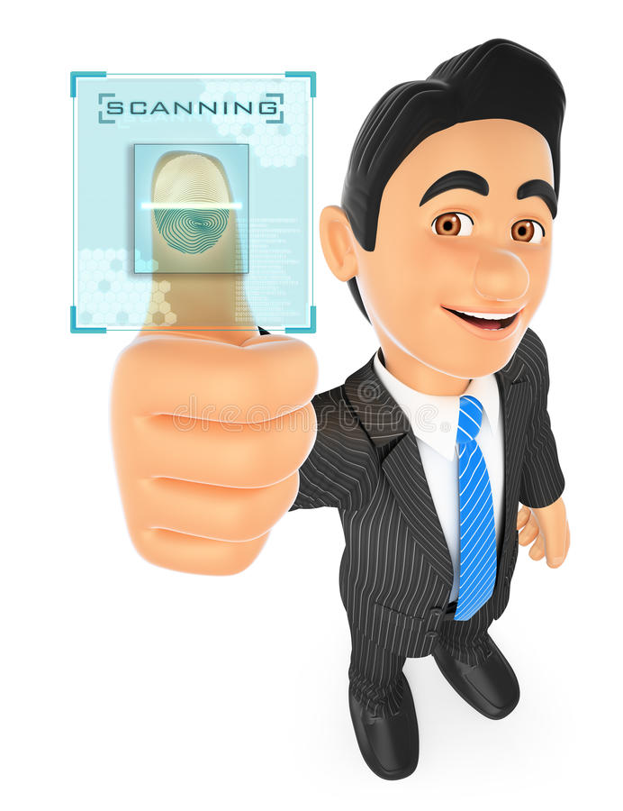 Geschäftsmann 3D, der mit Fingerabdruck identifiziert stock abbildung