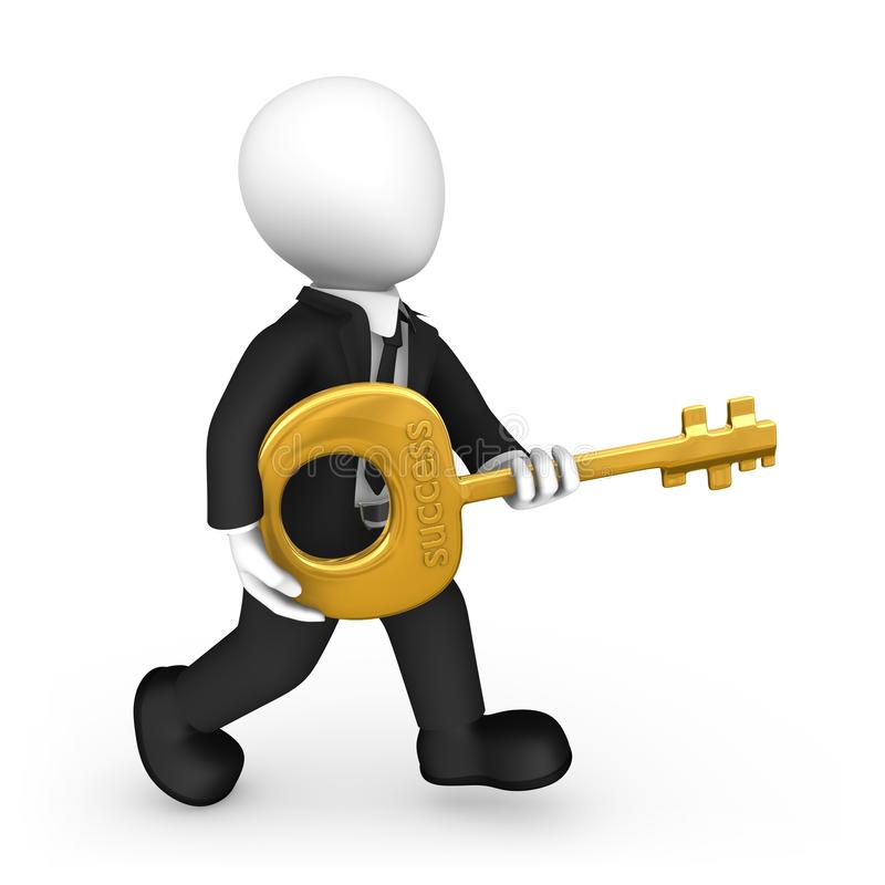 Geschäftsmann 3d in der schwarzen Reihe mit einem goldenen Schlüssel zum Erfolg lizenzfreie abbildung
