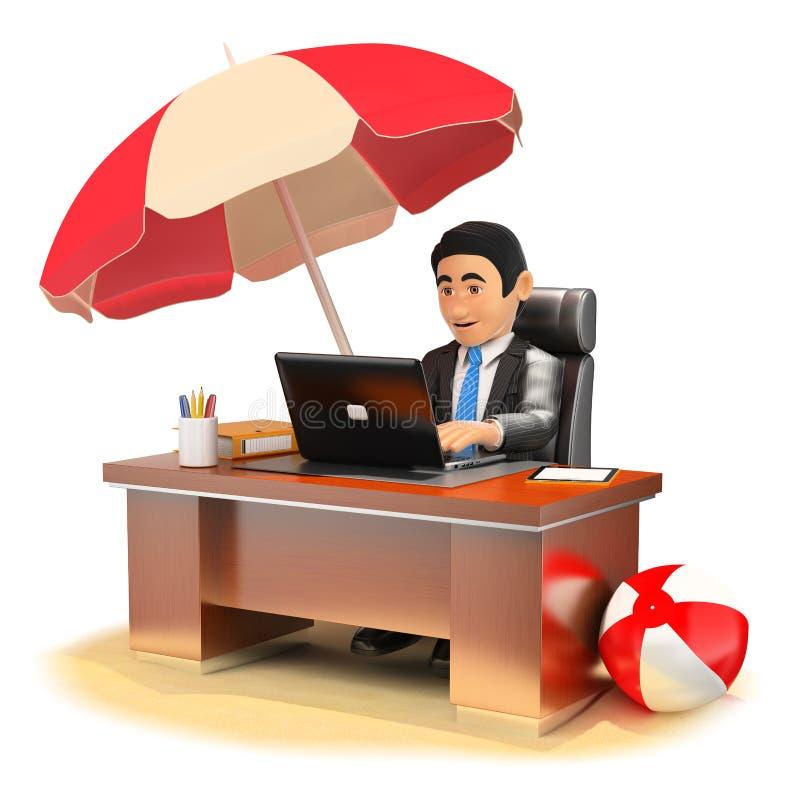 Geschäftsmann 3D, der in seinem Büro auf dem Strand arbeitet stock abbildung