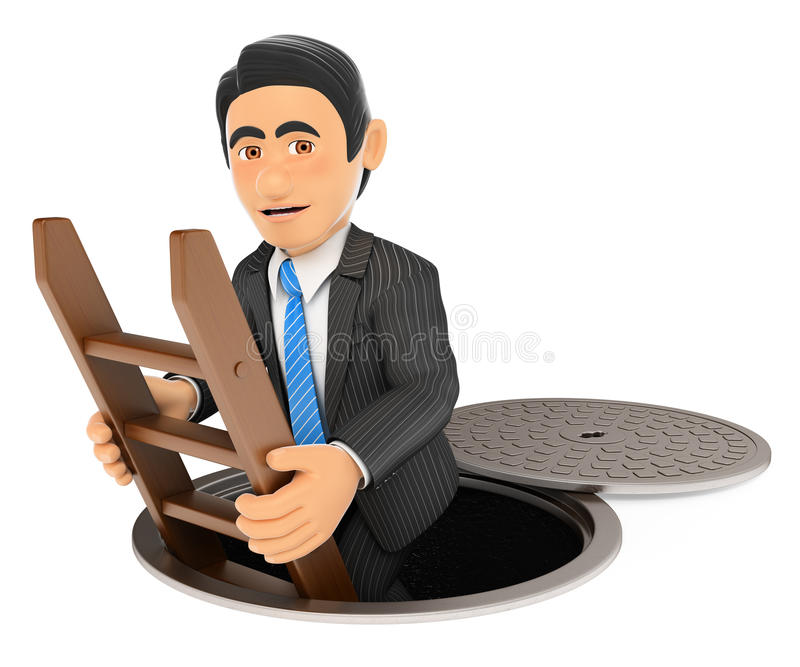 Geschäftsmann 3D, der unten zu den Abwasserkanälen geht Dunkle Seite stock abbildung