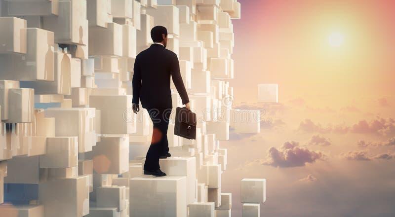Geschäftsmann 3D, der zur Zukunft schaut stock abbildung