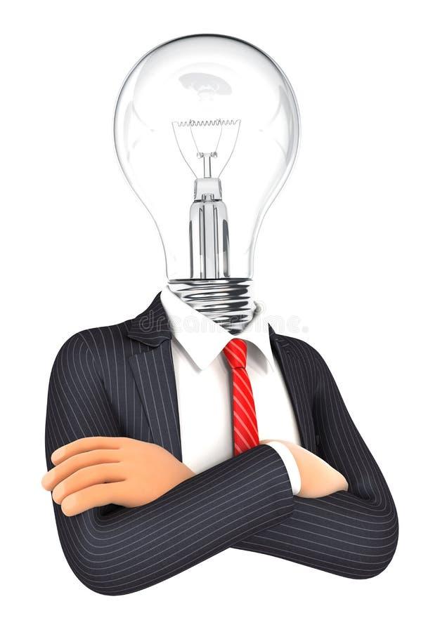 Geschäftsmann 3d mit Glühlampekopf lizenzfreie abbildung