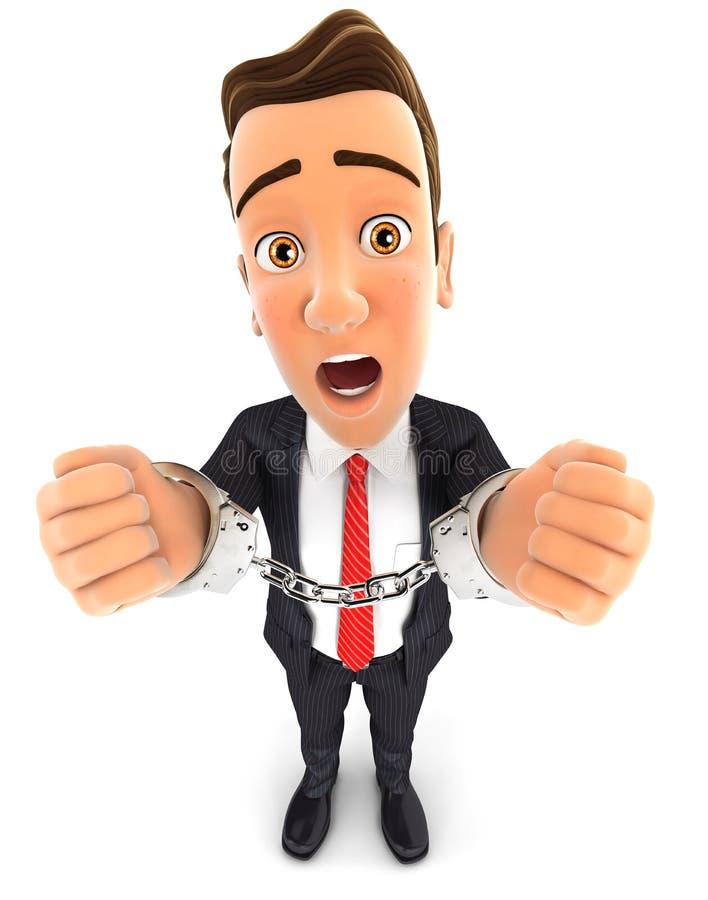 Geschäftsmann 3d mit Handschellen gefesselt stock abbildung