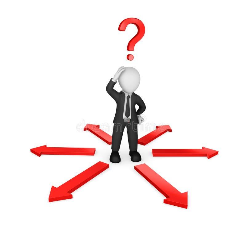 Geschäftsmann 3d mit roten Pfeilen und Fragezeichen lizenzfreie abbildung