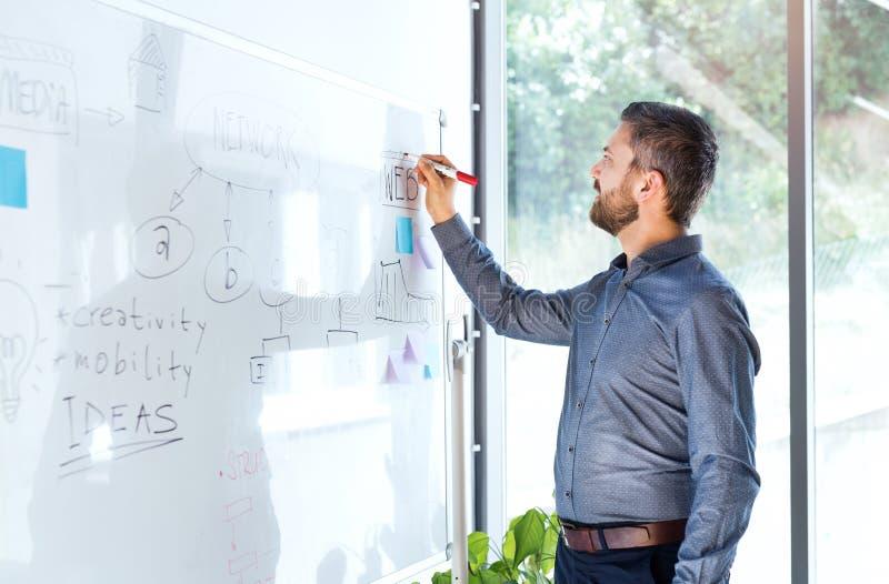 Geschäftsmann in den Büroschreibensanmerkungen über whiteboard lizenzfreies stockbild