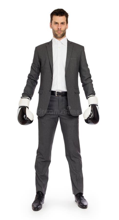Geschäftsmann in den Boxhandschuhen stockfoto