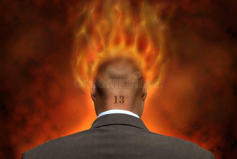 Geschäftsmann in den Flammen lizenzfreie stockbilder
