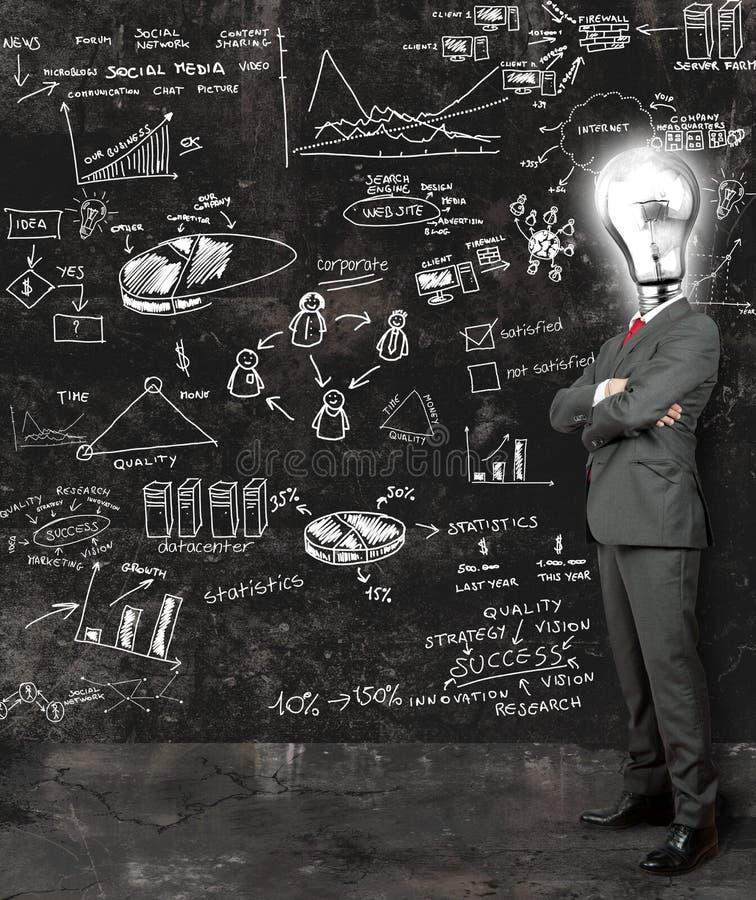 Geschäftsmann denken über neue Ideen nach lizenzfreie stockfotografie