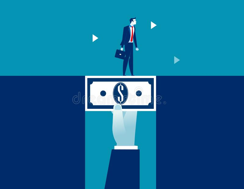 Geschäftsmann, der über das Dollargeld füllt den Abstand geht Konzeptgeschäfts-Vektorillustration stock abbildung