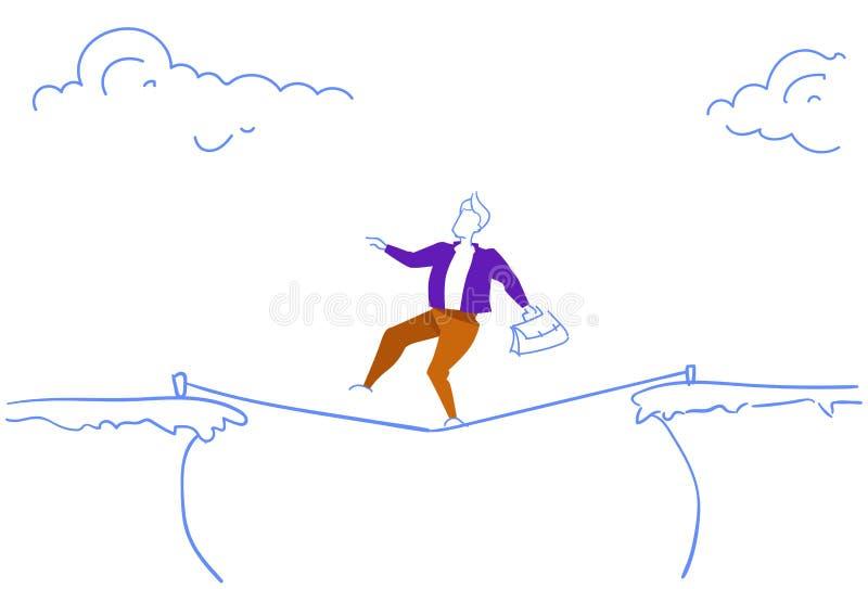 Geschäftsmann, der über die Unterseilrisikokonzept-Gekritzelskizze des Klippenabstandsgebirgsabgrund-Geschäftsmannes horizontal g stock abbildung