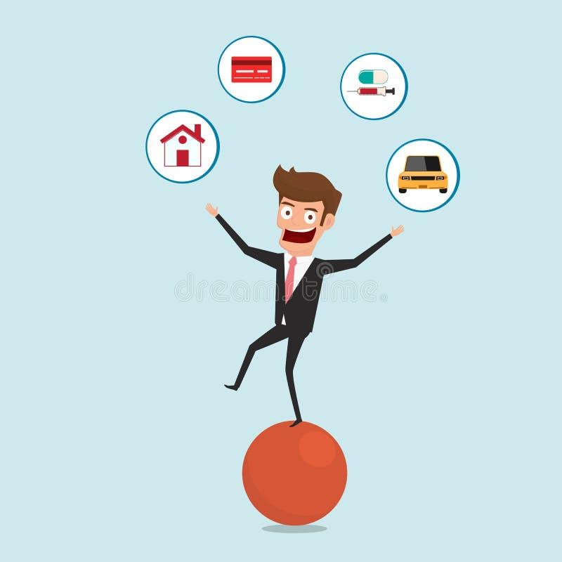 Geschäftsmann, der auf Bereich und jonglierenden Finanzschuldikonen balanciert Finanz- und Gelddispositionskonzept vektor abbildung