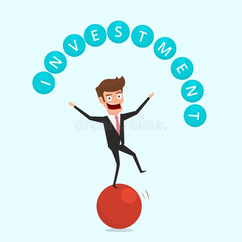 Geschäftsmann, der auf Bereich und jonglierender Investitionsfinanzierung balanciert Finanz- und Gelddispositionskonzept lizenzfreie abbildung