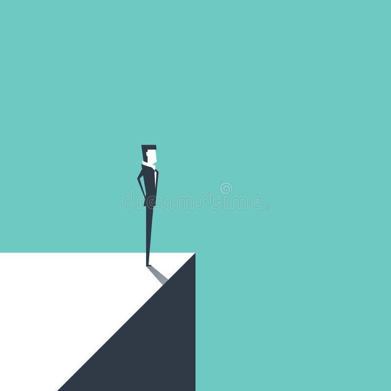 Geschäftsmann, der auf dem Rand steht Risiko und Herausforderungsgeschäftskonzept vektor abbildung