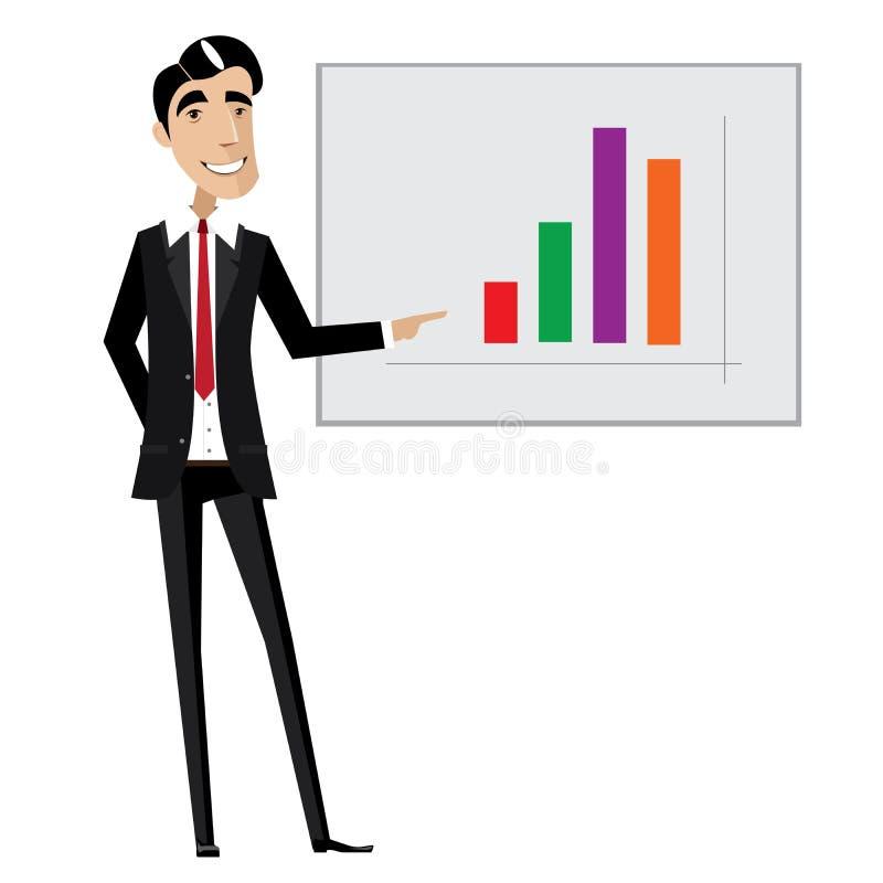 Geschäftsmann, der auf Diagramm zeigt lizenzfreie abbildung