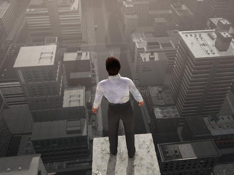 Geschäftsmann, der auf die Wolkenkratzeroberseite steht lizenzfreie abbildung