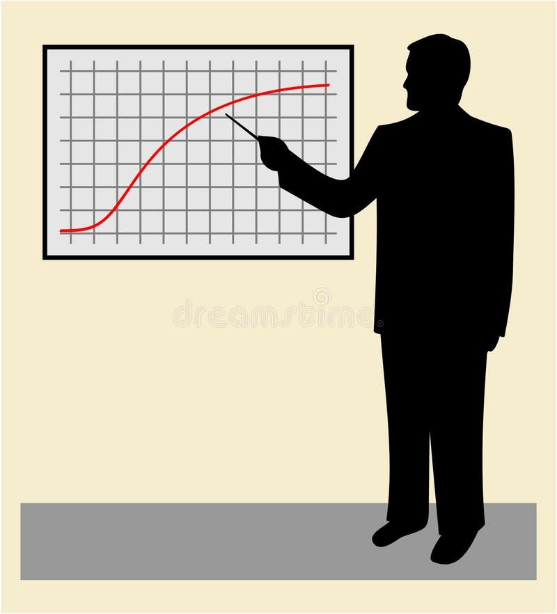 Geschäftsmann, der auf ein Diagramm zeigt. JPG und ENV vektor abbildung