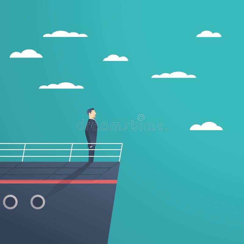 Geschäftsmann, der auf einem Schiff als Symbol der Führung, des Professionalismus und des starken, starken Managers steht vektor abbildung