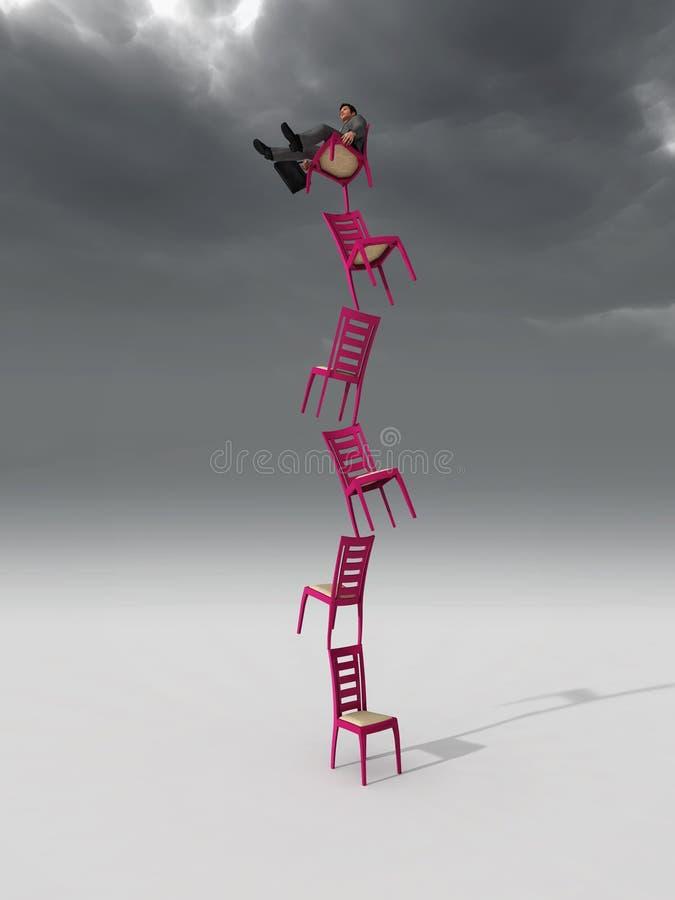Geschäftsmann, der auf einem Stuhl balanciert stock abbildung