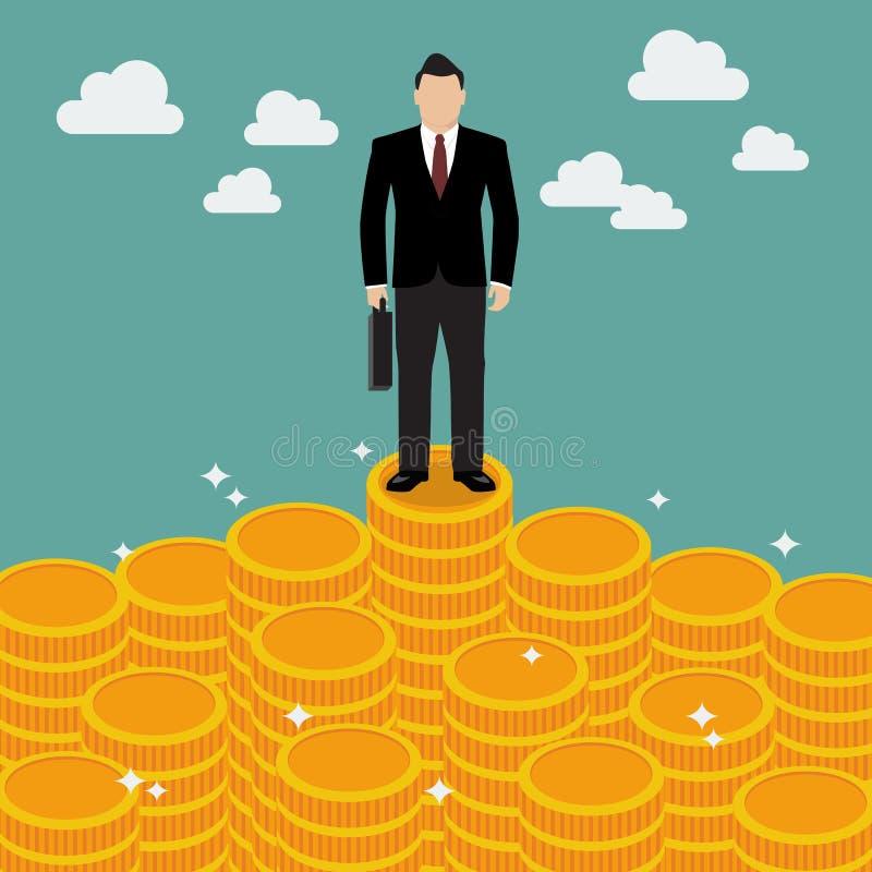Geschäftsmann, der auf Geld steht lizenzfreie abbildung