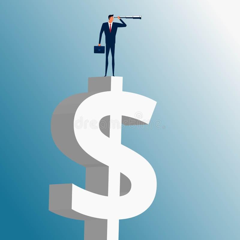 Geschäftsmann, der auf Geldgebäude steht und das Teleskop sucht nach Erfolg, Gelegenheiten, zukünftige Geschäftstendenzen verwend stock abbildung