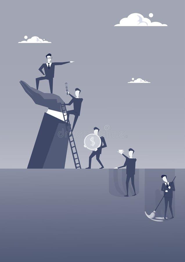 Geschäftsmann, der auf Grossunternehmer-Hand Point Finger-Führer-Of Businesspeople Group-Karriereentwicklungs-Konzept steht vektor abbildung