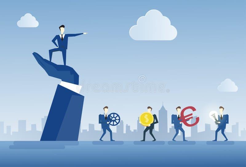 Geschäftsmann, der auf Grossunternehmer-Hand Point Finger-Führer-Of Businesspeople Group-Teamwork-Konzept steht lizenzfreie abbildung