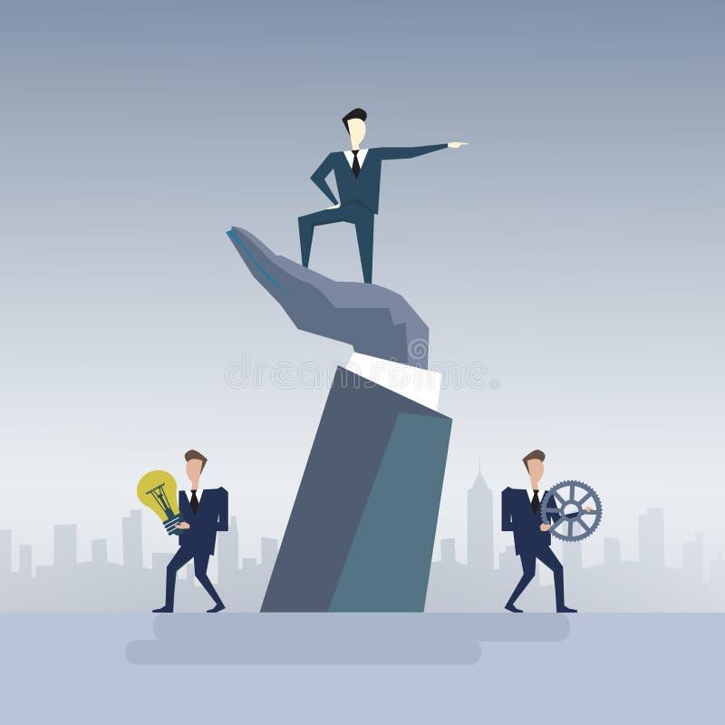 Geschäftsmann, der auf Grossunternehmer-Hand Point Finger-Führer-Of Businesspeople Group-Teamwork-Konzept steht vektor abbildung
