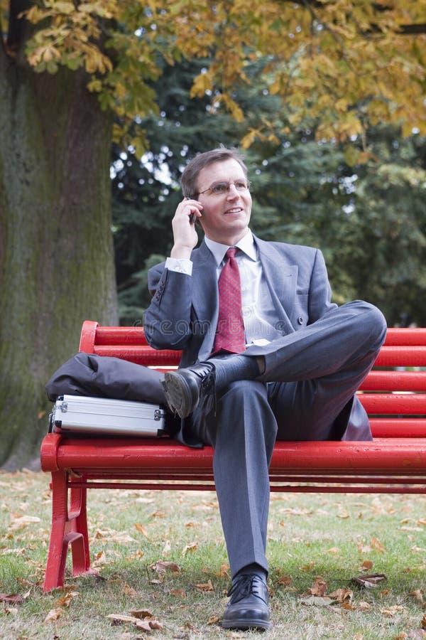 Geschäftsmann, der auf Handy spricht lizenzfreie stockbilder