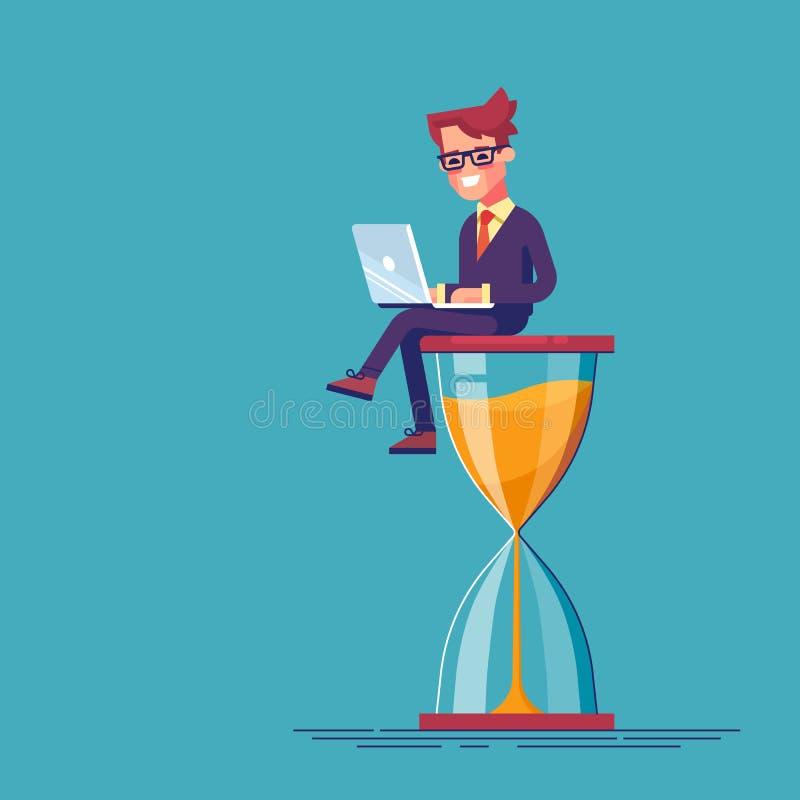 Geschäftsmann, der auf der Sanduhr mit den Laptopbeinen gekreuzt sitzt Geschäftskonzept des Zeitmanagements und des Aufschubs stock abbildung