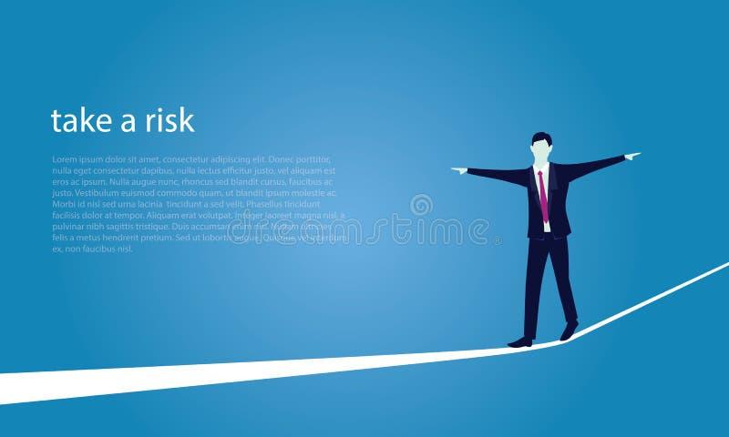 Geschäftsmann, der auf Seil geht Risiko-Herausforderung im Geschäfts-Konzept stock abbildung