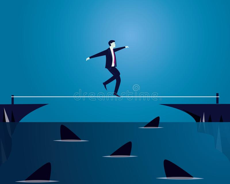 Geschäftsmann, der auf Seil geht Risiko-Herausforderung im Geschäfts-Konzept lizenzfreie abbildung