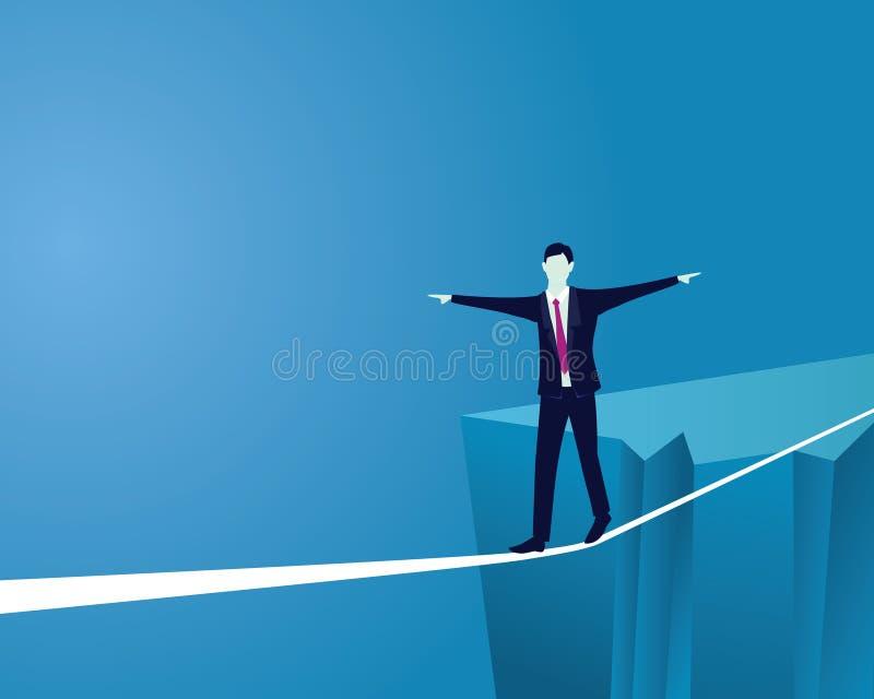 Geschäftsmann, der auf Seil geht Risiko-Herausforderung im Geschäfts-Konzept vektor abbildung